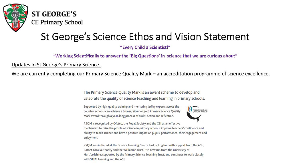 Updates in St George's Primary Science